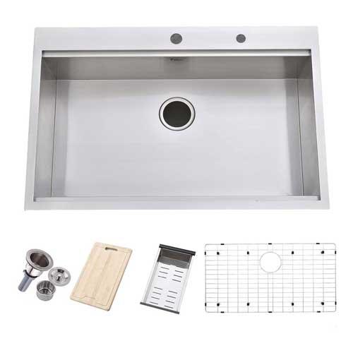 """Friho 33""""x 22"""" Topmount Stainless Steel Kitchen Sink"""