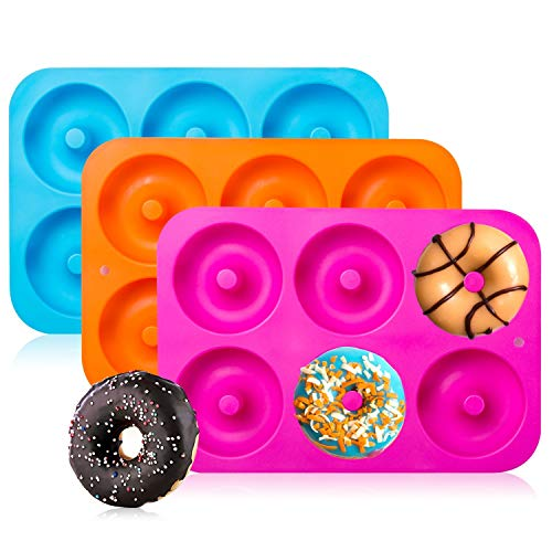 3-Pack Silicone Donut Baking Pan of 100% Nonstick Silicone and BPA Free Mold Sheet Tray – By Gezan