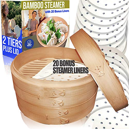 Bamboo Steamer/ 2 Tiers & Lid by Cuisine Natural