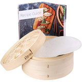 Steami - Bamboo Steamer with Liners and Recipe Guide