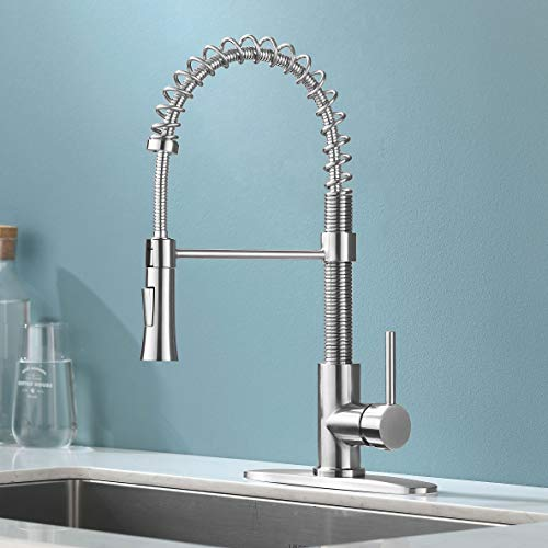 Kingo Home Handle Pull Down Sprayer Brushed Nickel Kitchen Faucet