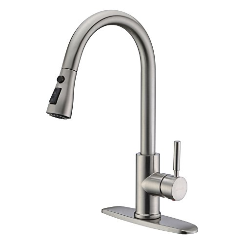 Wewe Arc Brushed Pull Out Kitchen Faucet